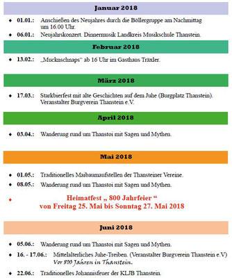 Veranstaltungen Januar - Juni 2018