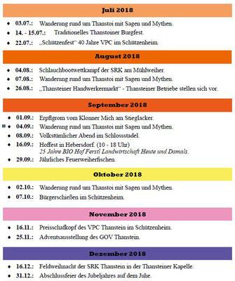 Veranstaltungen Juli - Dezember 2018