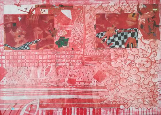 """""""Spiel mit dem Feuer"""" Acryl/Collage 2007 /70x100"""