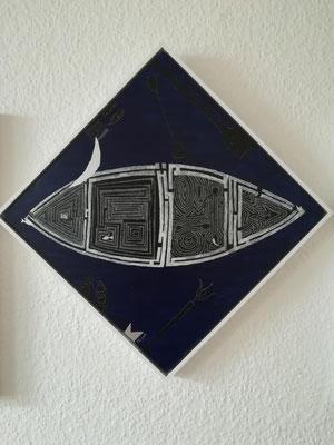"""""""Das Boot"""" Acryl auf Holz 40x40 2006"""