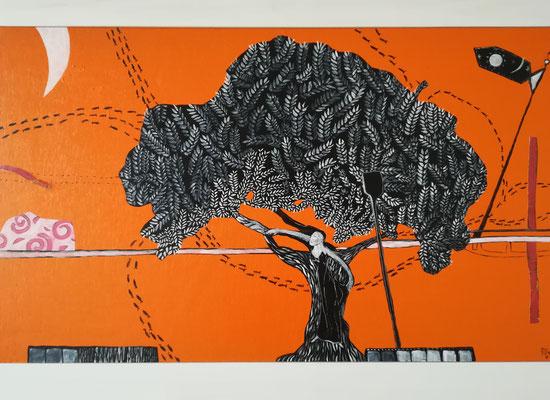 """Das Leben spielt"" Acryl auf Holz 2014 /40x60"