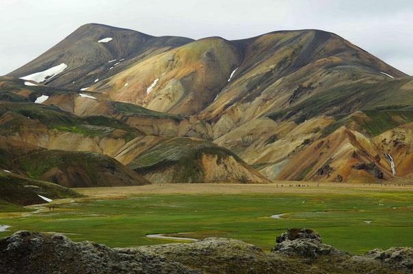 farbenprächtiges Landmannalaugar - auch ohne Sonne