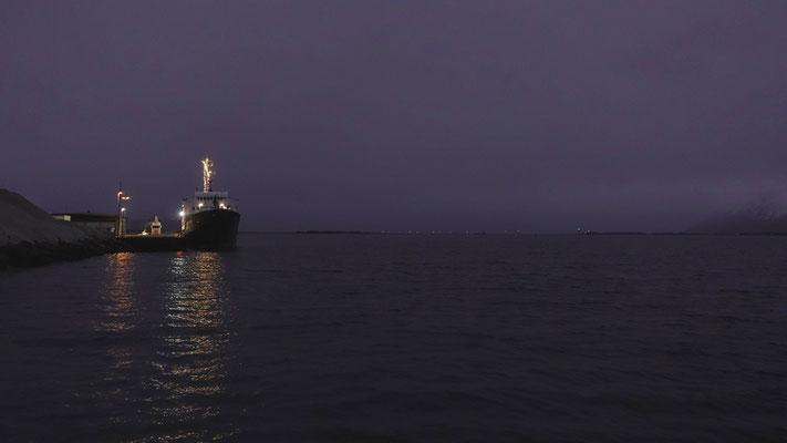 M/S Lofoten in Risøyhamn im Hintergrund die Lichter der Risøyrenna