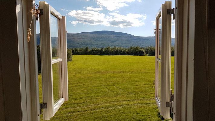 Blick aus dem Fenster unseres Zimmers in der Escapade Norvégienne