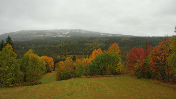 im Tal ist noch Herbst in den Bergen liegt schon Schnee