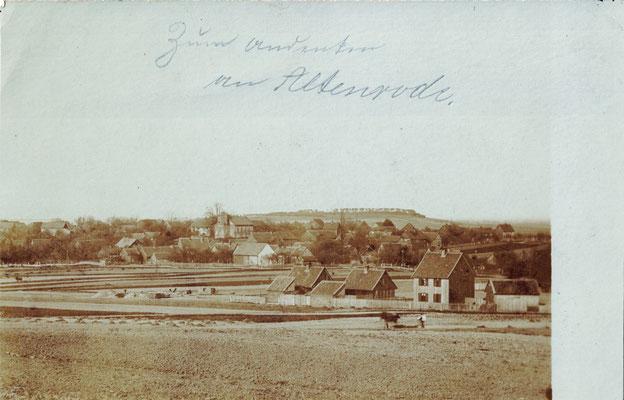 Altenrode, 1899, Blick vom Karberg, mit Bautätigkeit am Sackweg (heute Bahnhofstraße)