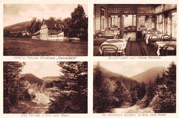 Oehrenfeld, um 1930, Pension Waldhaus mit Veranda sowie Blick in das Tänntal und das Sandtal