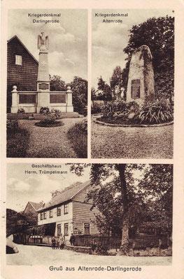 Altenrode, 1923, mit Geschäftshaus Försterling (Bezeichnung Trümpelmann ist ein Fehler, Mühlenstrasse) sowie Denkmal in Altenrode und Darlingerode