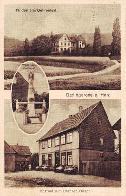 Darlingerode, 1929, mit Kinderheim, Denkmal und Gasthof zum Braunen Hirsch