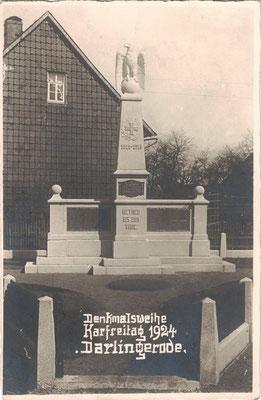 Darlingerode, 1924, Denkmaleinweihung