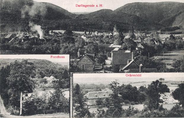 Darlingerode, 1908, Blick über den Ort, im Hintergrund der Burgberg, Forsthaus Oehrenfeld und Jagdzeughaus