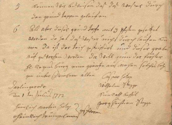 Akte von 1772 mit dem Hinweis auf den neuen Zapfen