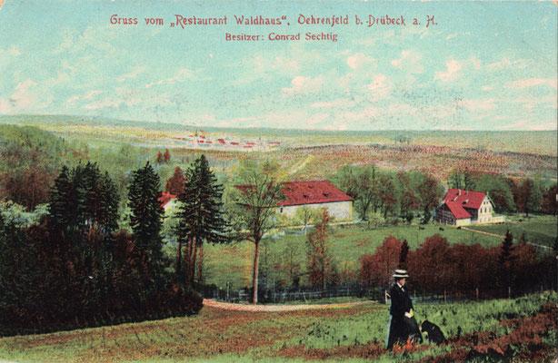 Oehrenfeld, um 1900, Pension Waldhaus, Jagdzeughaus vom Waldhof gesehen