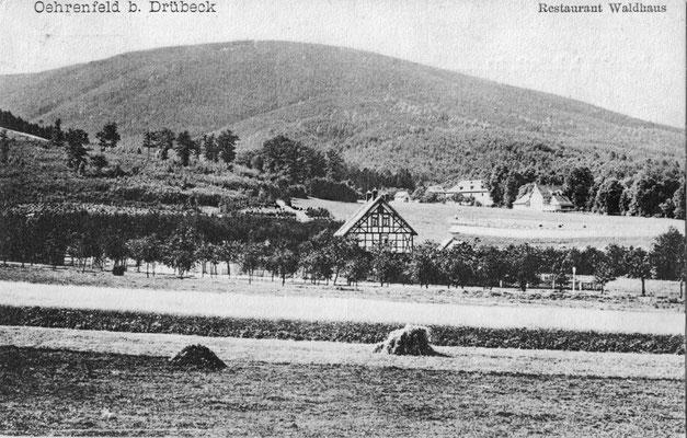 Oehrenfeld, 1909, Pension Waldhaus, Jagdzeughaus und erste Bebauung (Fachwerk) gegenüber Schützenplatz