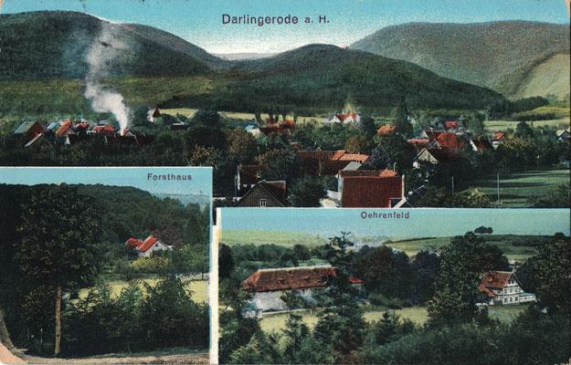 Darlingerode, 1917, Blick über den Ort, im Hintergrund der Burgberg, Forsthaus Oehrenfeld und Jagdzeughaus