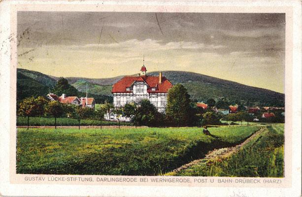 Lückestift Darlingerode, 1923, im Vordergrund der Weg vom Lückestift zum Ütschenteich (Kegelbahn)