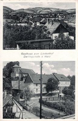Darlingerode, 194?, Gaststätte Lindenhof und Blick vom Kirchturm Altenrode über den Ort, im Hintergrund die Darlingeröder Schweiz