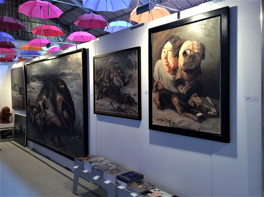 Stand of the Gallery KK Klaus Kiefer, Essen, at the art fair Art Sylt 2016 with paintings of Yongbo Zhao (Photo: Klaus Kiefer)