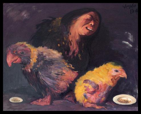 Hühnermann II // Chicken man II // 鸡人 (之二), 2011, 80 x 100 cm