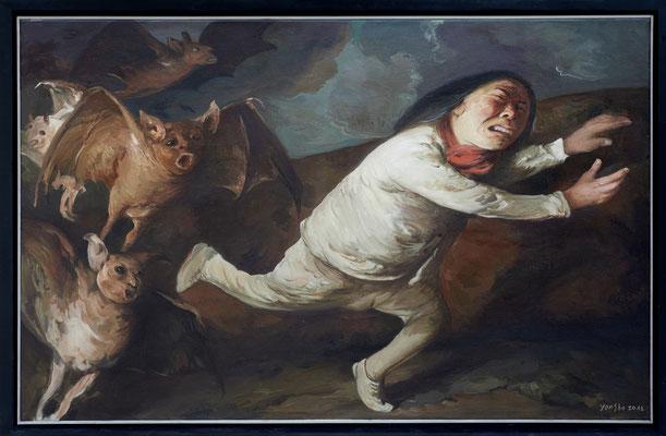 Goya verfolgt I // Goya persued I // 鸡人  (之一), 2012, 90 x 140 cm