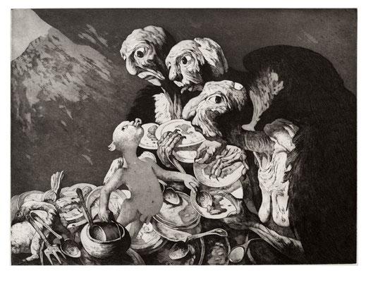 Geiermensch I // Vulture man I // 秃鹫人 (之一), 2006, 29,5 x 39 cm