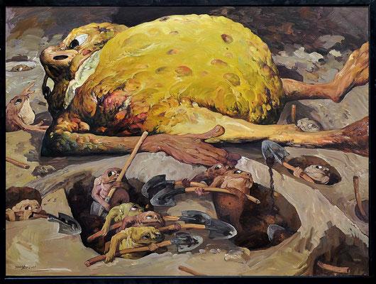 Man bekommt ihn einfach nicht unter die Erde I // He simply can't be buried I // 永远不可埋葬的他 (之一], 2011, 180 x 240 cm