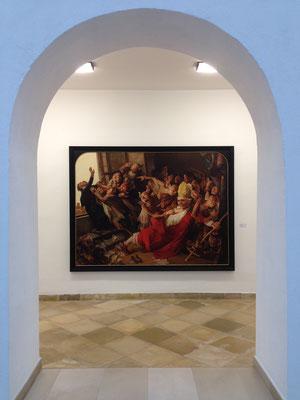 """Blick auf Yongbo Zhaos Bild """"Kelch der Päpste II"""" in der Städtischen Galerie """"Fähre"""" im Alten Kloster Bad Saulgau, 2013"""