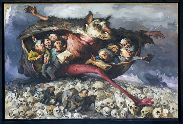 Unter den Flügeln des Glaubens lebt gut der Tod // Death lives well under the wings of faith // 在宗教的翅膀下生活及死亡, 2016, 160 x 240 cm