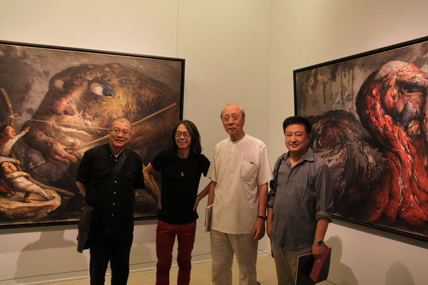 National Museum of China ((from left to right): Du Jiang (President of the Academy of China, curator of the exhibition), Yongbo Zhao, Professor Zhang Jianjun (Chairman of the Chinese Society for Oil Painting), Zhang Zhuying (General Secretary)
