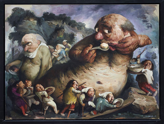 Sein Appetit ist unstillbar // His appetite is insatiable // 贪婪无厌, 2017, 180 x 240 cm