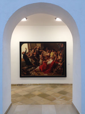 "Look at Yongbo Zhao's painting""The chalice of the popese II"" at the Municipal Gallery ""Fähre"" at the Old Cloister Bad Saulgau, 2013"