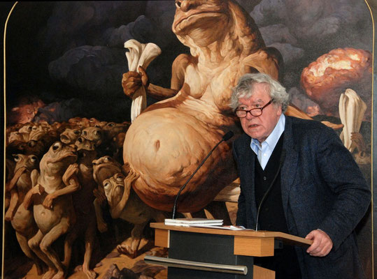 "The China expert Tilman Spengler speaking at the opening of the exhibition ""Provocation! Goya, Daumier and Yongbo Zhao - Critics and Mockers of their Times "", Kallmann Museum, Ismaning, 2014"