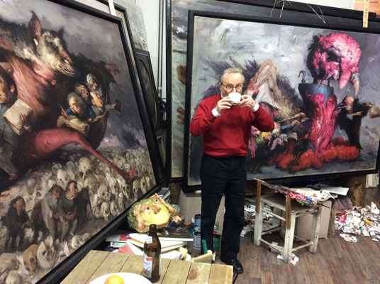 Atelierbesuch des Galeristen Klaus Kiefer, Januar 2017