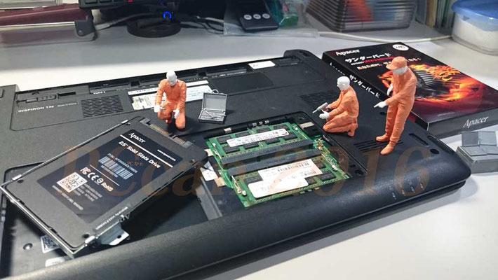 中野区作業 HDDからSSDへの交換作業を実施しました。