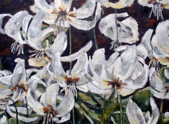 "Fawning lilies, oil on canvas, 30"" x 40"", sold"