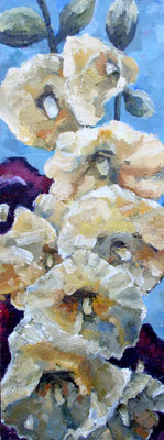 "Yellow Hollyhocks, oil on board, 12""x 24, sold"