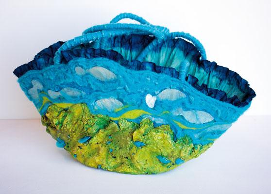 Art bag Vis op het droge  mixed media