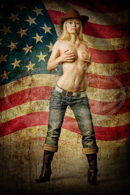 American Pie, Frau, Beauty, Fahne, Flagge