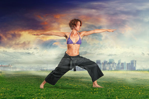 Yoga, Sport, Fitness, Frau, Wiese, Übung