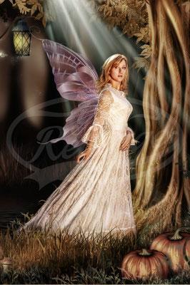 Fee im Herbstwald, Flügel, Frau, Kleid