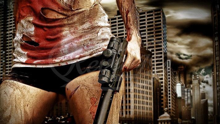 Amok, Frau Blut, Pistole, Stadt, City
