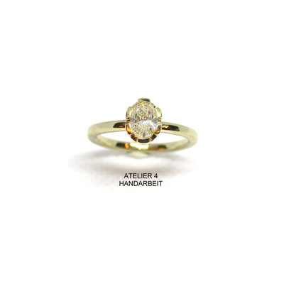 RING -OVAL- GG 750/ooo - Diamant 0,76ct