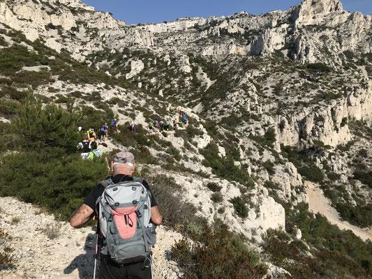 La longue file en route vers Marseilleveyre