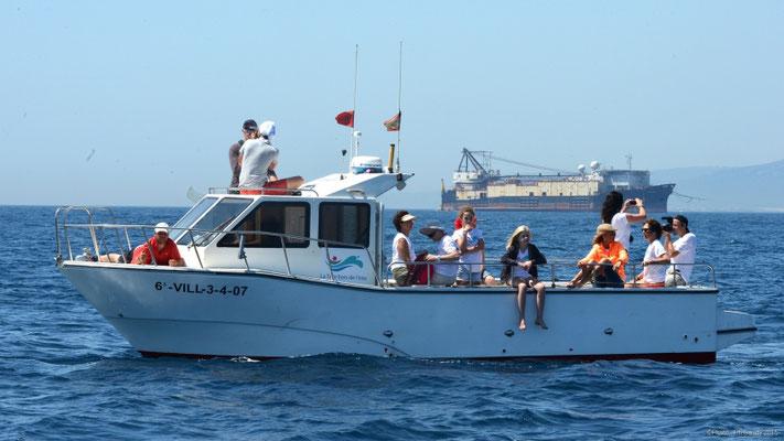 Barco a motor con patrón Tarifa