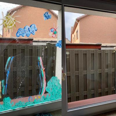 Kristall-Reinigungsservice Gereinigtes Fenster vorher nachher