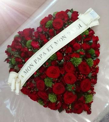 D22 Coeur roses rouges + Ruban