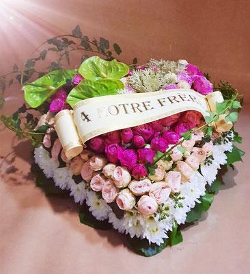 Coeur blanc rose et vert + Ruban