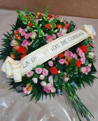 D19 Gerbe piquée rose et orange + Ruban