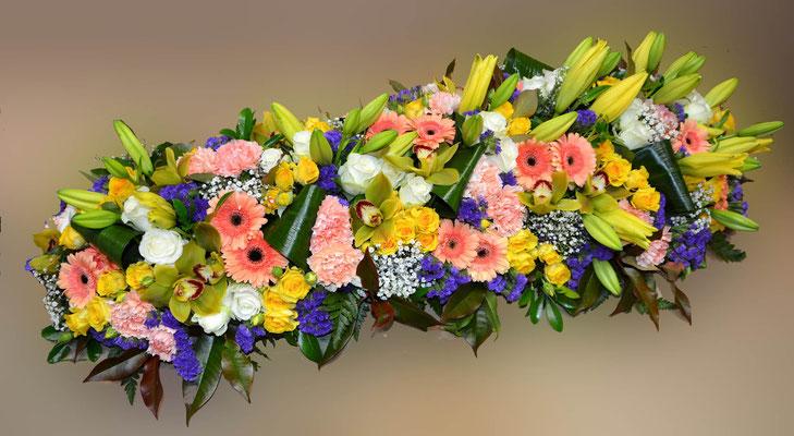 D44 Dessus de cercueil multicolore tons chauds