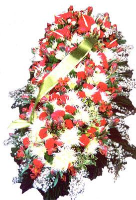 D42 Dessus de cercueil blanc et rouge